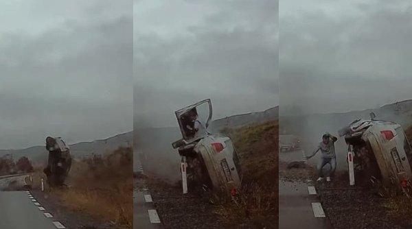 Un sofer s-a răsturnat cu maşina după o depăşire riscantă. Accidentul a fost surprins de camera de bord a unui alt participant la trafic în Bistriţa-Năsăud