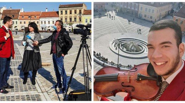 Concert inedit în Piața Sfatului! Violonistul Bogdan Costache a oferit un recital impresionant la Brașov