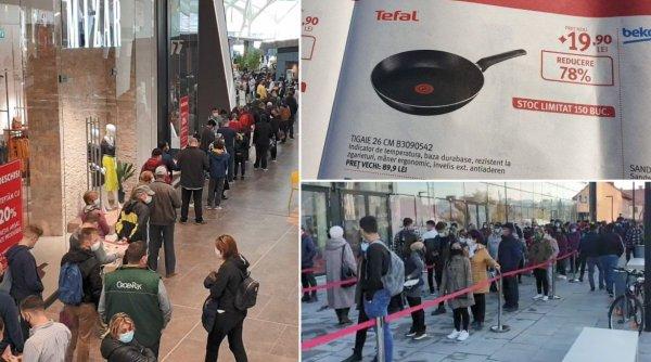Sute de oameni au stat la coadă pentru oferte la tigăi, la deschiderea celui mai mare mall din Brașov