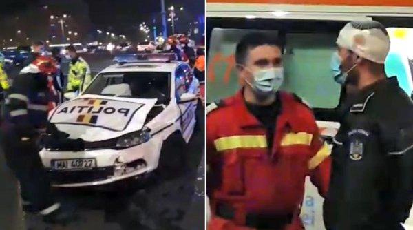 Mașină de Poliție, accident violent în fața Guvernului. Un polițist a fost rănit la cap