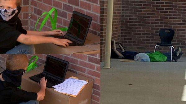 Un elev de clasa a IV-a a găsit o soluţie inedită de a face şcoala online, chiar dacă nu avea internet acasă