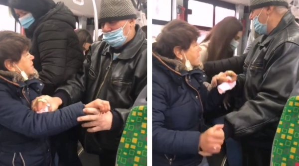 Schimb de palme într-un autobuz din Iași. Un bărbat şi o femeie s-au luat la harţă din cauza măştii de protecţie