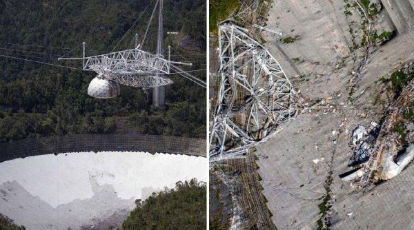 Sfârşitul violent al celui mai cunoscut radiotelescop din lume. Colosul din Arecibo a servit drept decor pentru seria James Bond