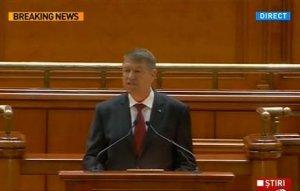 DISCURSUL INTEGRAL al preşedintelui Klaus Iohannis în Parlament: Trebuie să ne apucăm de treabă