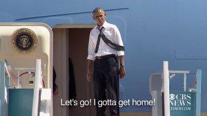 """Imagini spectaculoase: Cum se roagă Obama de Bill Clinton să urce în avion. """"Bill, trebuie să ajung acasă!"""""""