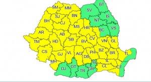 Cod galben de furtuni în mare parte a țării până duminică seara