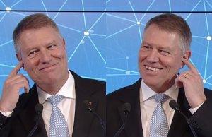 Iohannis, reacție-surpriză când a fost întrebat dacă are cască pentru a i se sufla răspunsurile la întrebări